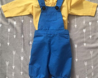 Minion Costume, Birthday outfit, theme party, girl or boy minion outfit. Despicable me