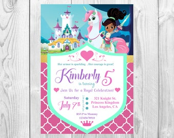 Nella the Princess Knight Printable Party Invitation - 5 x 7 , 4 x 6 - Nella the Princess Knight Party Prints/Supplies