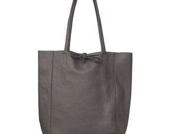 SAC à main shopping woman, grey leather
