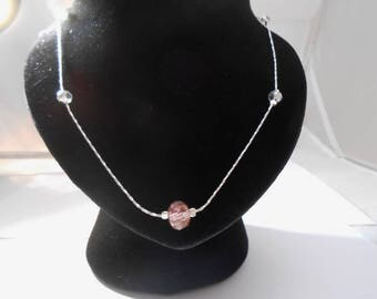 Crystal beads necklace on 925 sterling silver chain