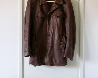 Vintage Leather Jacket // Genuine Leather Coat // 70s Jacket // Small Medium // Made in Finland // Fabriks Ab Kronoby // Kruununkylä //