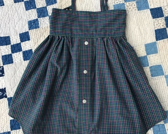Green and blue plaid sundress size 3T