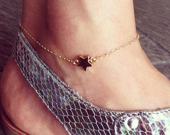 Hand-made Gold Star Anklet / Gold Anklet Available in 14k Gold, White Gold or Rose Gold