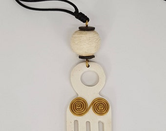 African Comb Pendant. African Jewelry. African Pendant. African Neck Piece. Recycled Bone Art. Pendant. Brass Pendant