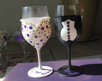 Hand Painted Personalized Bride & Groom Wedding Wine Glasses