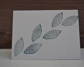 Leaf print cards set of 5