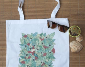 """Cotton Tote Bag white """"The Jungle has eyes"""""""