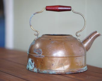 Vintage Copper Tea Kettle with Patina