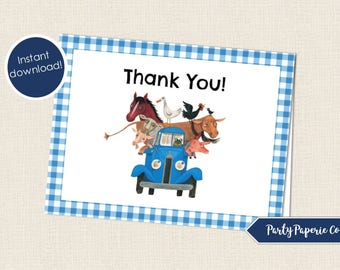 Little Blue Truck Birthday Blank Thank You Notes, Foldable Thank You Cards, Printable Thank You Note, Blue Truck Birthday Thank You Cards