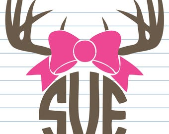 Deer Antler SVG Deer Antler Monogram SVG Southern Monogram SVG Commercial Free Cricut Files Silhouette Files Circle Monogram svg