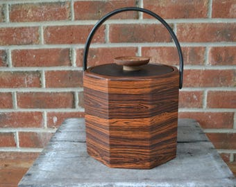 Kraftware Mid-Century Faux Wood Vinyl Ice Bucket