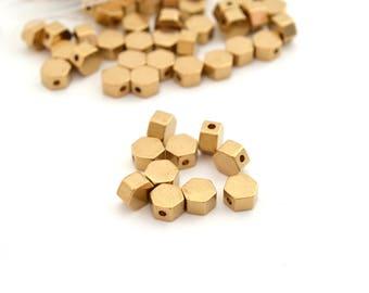 10 flat Hexagon beads 5.5 mm gold brass