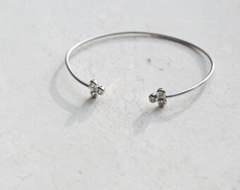 Open bangle - open cuff - CZ bangle - silver bangle - silver bracelet - minimalist