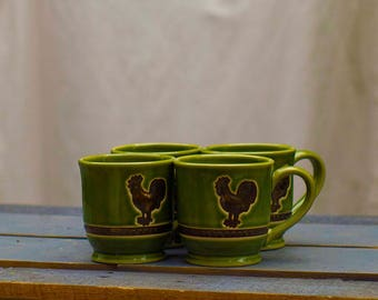 Vintage Green Rooster Coffee Cups, 1970's, Set of 4 Large Ceramic Mugs, Rooster Lover Gift Decor, Country Kitchen, Green Vintage Cup Set