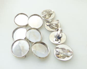 5 pairs of clip on earrings for 16mm cabochons