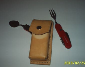 Holster belt, covered in camping, cowhide leather
