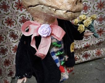 Anthropomorphic Art Doll Cristofer the Crocodile OOAK Sculpted Handmade