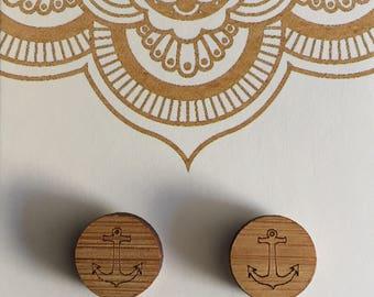 Wooden Stud Earrings, Anchor, Heart, Birds, Jenga