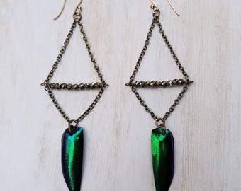 Jewel Beetle Wing and Pyrite Earrings