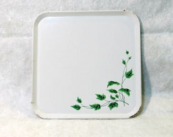 Retro Metal Serving Trays | Mid-Century Serv-A-Dish | Set of 6 Vintage White with Ivy Leaves | 1960s Luncheon Barbecue Serving Trays