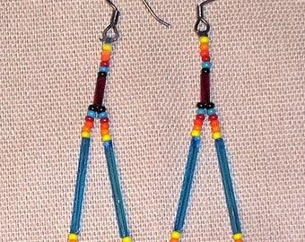 Native American Beaded Tear Drop Earrings
