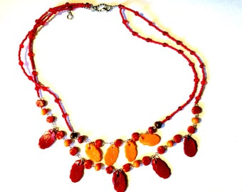 Falling leaves - Necklace and earring set