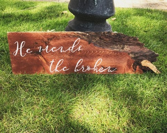 Distressed Rustic Wood Slab Sign Christian Saying Farmhouse Style Decor Tree Slab Bible Handpainted Sign