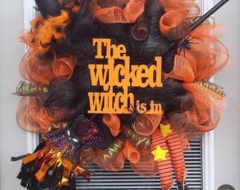 Halloween Wreath, Witch wreath, Wicked Witch wreath