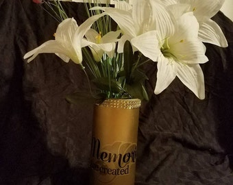 Copper cylinder vases. Gold jewel accent