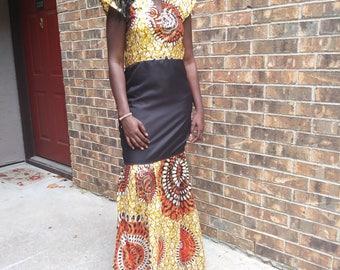 Ankara African dress, long African dress, prom dress, African print, African wax print, formal gown, African dress, quality African print!!!