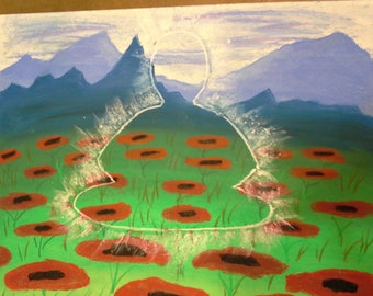 Meditate to Levitate Pastel drawing in a poppy field with mountains in the back