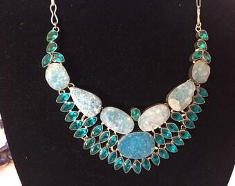 Teal Druzy and Quartz necklace