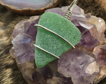 Frosted kelly green seaglass necklace wire wrap
