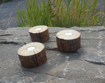 Rustic Log Candle Holder, Set of 3