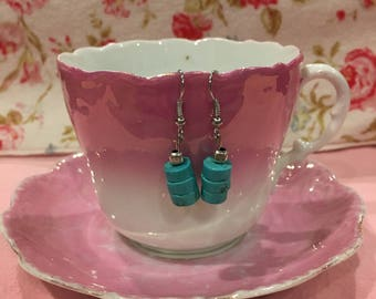 Simple turquoise and silver drop earrings
