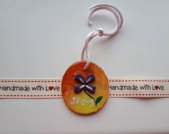 Jesus Round Hanger / Key ring / clay gift / Religious