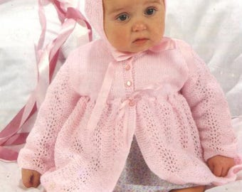 Instant PDF Digital Download Knitting Pattern to make Jacket, Bonnet and Bootees for Baby Girl/PDF Knitting Pattern - 337