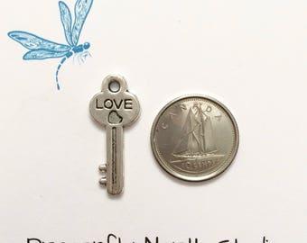Key to love charm - silver key charm - antiqued silver tone charm
