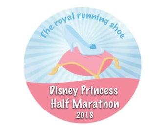 Princess Half Marathon 2018 Button - Cinderella Shoe Button - Disney Racing Pin - Theme Park Button