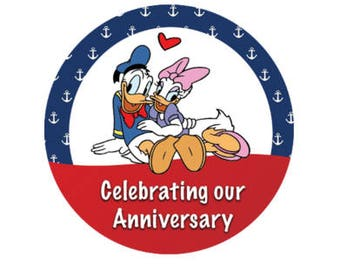 Daisy Duck and Donald Duck Nautical Anniversary Button - Disney Park Button - Anniversary Pin - Celebration Button - Character Button