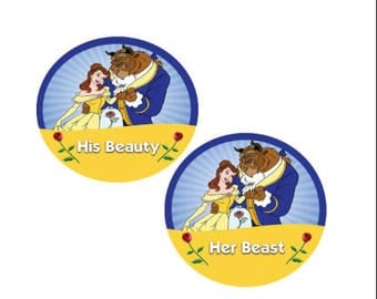 His Beauty and Her Beast Button - Disney Couples Button - Beauty and the Beast Pin - Theme Park Pin - Disney Park Pin - Beauty and the Beast