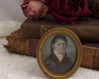 antique miniature painting, gentleman, late georgian, brass frame