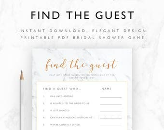 Bridal Shower Game Printable - Find the Guest Game, Icebreaker Game - Instant Download PDF A4, US Letter, 5x7 Size - Marble