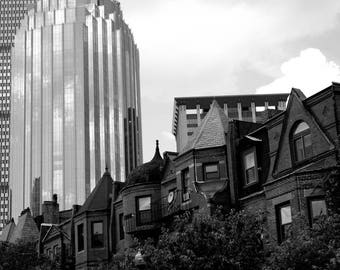 South End brownstones with Prudential Tower