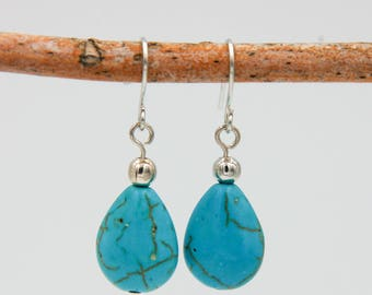 Turquoise Earrings, FREE Shipping, Beaded Earrings, Drop Earrings, Dangle Earrings, Tear Drop Earrings, Boho, Gift for Her, Gift Ideas