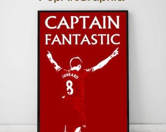 liverpool fc, poster gerrard, poster liverpool fc, football poster, steven gerrard, wall art football, gerrard liverpool poster,