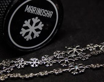 Winter Snowflakes Sterling Silver Bracelet, Winter Sports Gift For Sportsmen Women