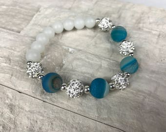 Blue Matte Druzy Quartz Bracelet with Pave Crystal Beads and Frosted White Glass Beads