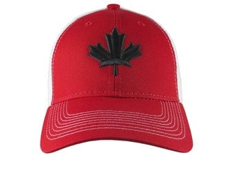 Black Canadian Maple Leaf 3D Puff Raised Embroidery on an Adjustable Red and White Full Fit Classic Trucker Cap Happy Canada Day