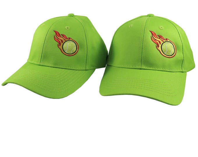 A Pair of Sporty Tennis Fire Bullet Embroidery Designs on 2 Lime Green Adjustable Structured Baseball Caps for Adult + for Child Age 6-14